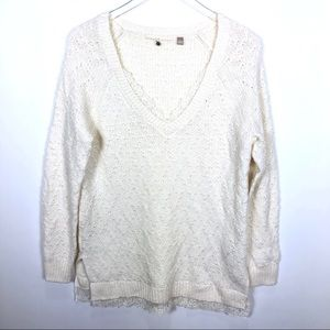 Anthropologie Knitted Knotted Lace Trim Sweater